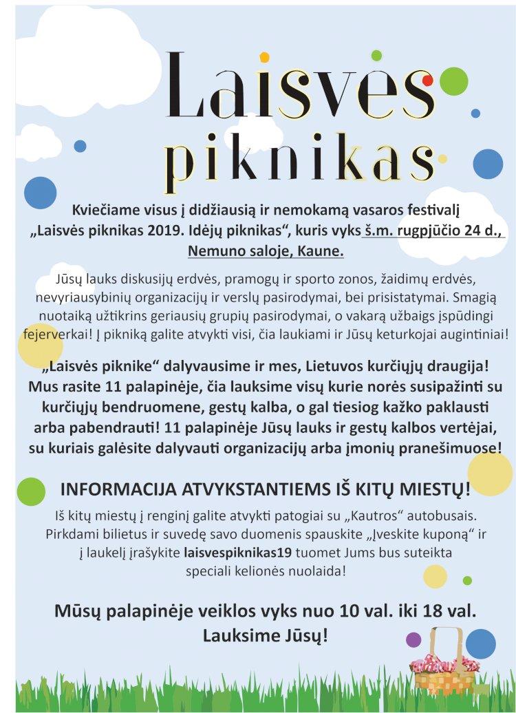 """Kvietimas į 08. 24 d. vykstantį renginį """"Laisvės piknikas"""""""